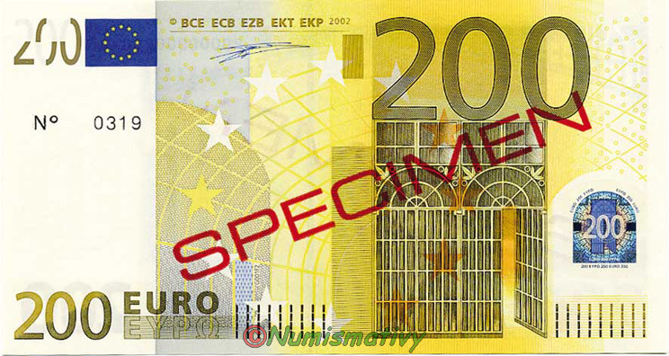 billets euro specimen avec signes de s curit s. Black Bedroom Furniture Sets. Home Design Ideas